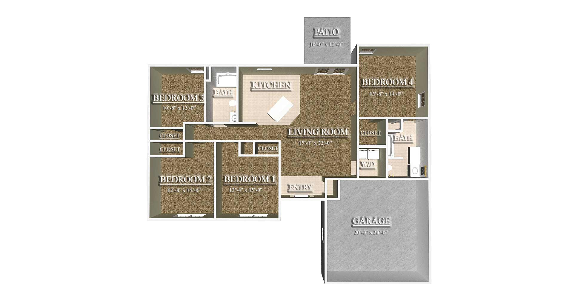 Floorplan 1  4 Bedroom. Ridge Estates at Hammond Home property management  Ridge Estates